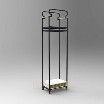 Fashion shopping mall furniture with wood clothing display cabinet and garment display stand