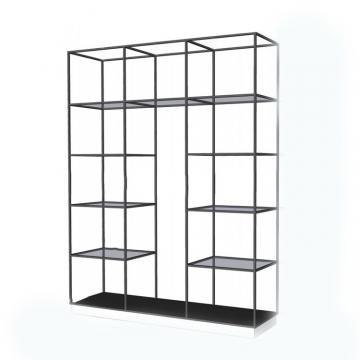 Fashion style cosmetic retail display racks wooden and metal display stand for miniso shop