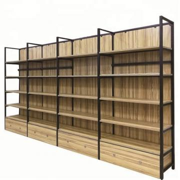 Retail Metal Wood Grocery Store Furniture Display Supermarket Wooden Shelf