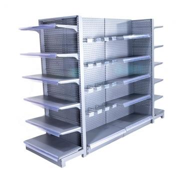 Metal Frame Retail Display Shelves , Multiuse Convenience Store Shelving Four Sides